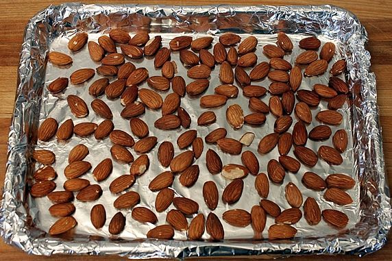 almonds on pan