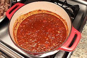mixed in pan