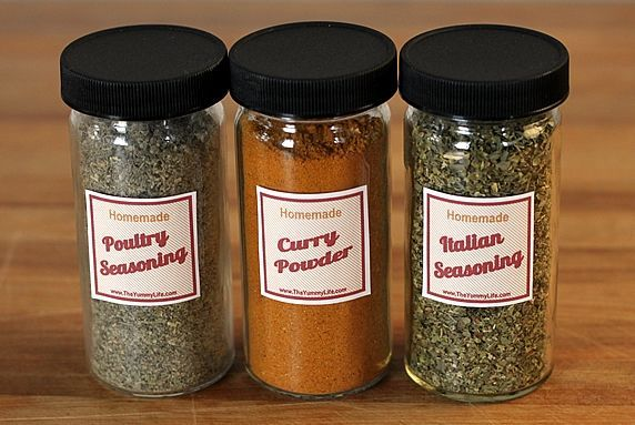 spice jars with stickers