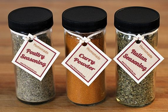 spice bottles with tags