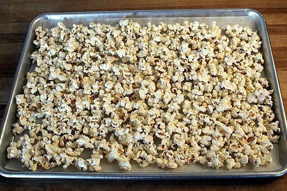 popcorn on tray