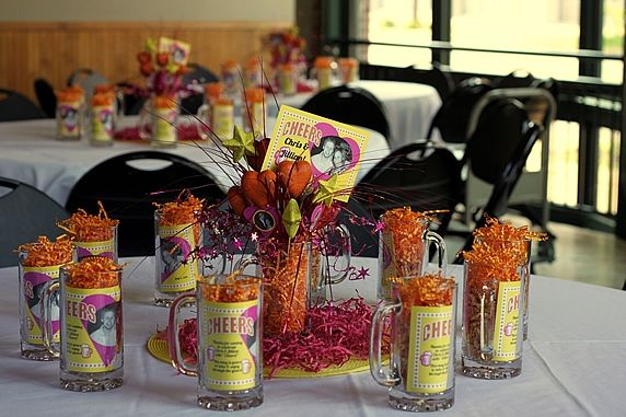 Diy Wedding Rehearsal Dinner Centerpieces Personalized With Photos Of The Bride And Groom Monogrammed