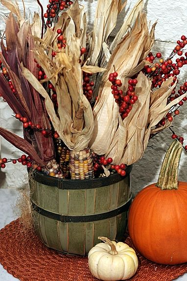 Fall decorating ideas with Indian corn