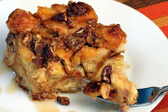 Overnight Pumpkin Pecan Croissant Bread Pudding