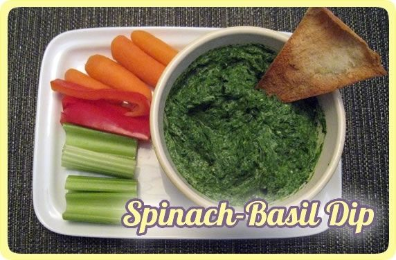 Spinach-basil dip and baked pita chips — an easy, healthy snack or ...