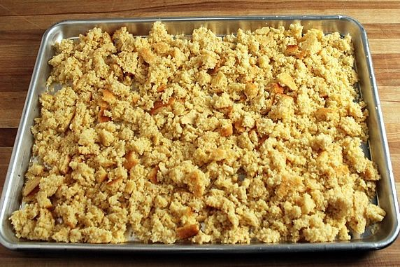 crumbled in pan
